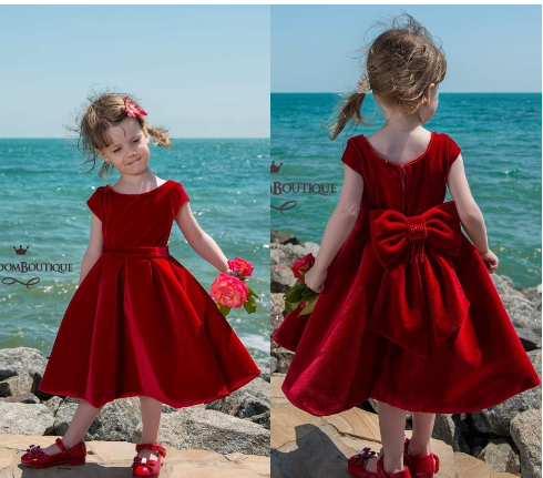 Little Red Velvet Tea Length Flower Girl Dresses 2018 Jewel Neck Short Sleeves With Bow Kids Formal Wear For Birthday Weddings