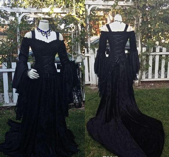 Intage Black Gothic Wedding Dresses A Line Medieval Off The