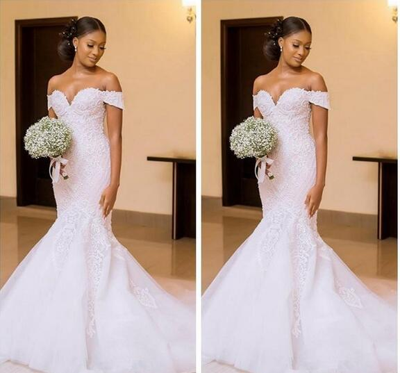 44251fdc735d 2018 African Black Girls Mermaid Wedding Dresses Bridal Gowns Custom Made  Off the Shoulder Beautiful Ladies