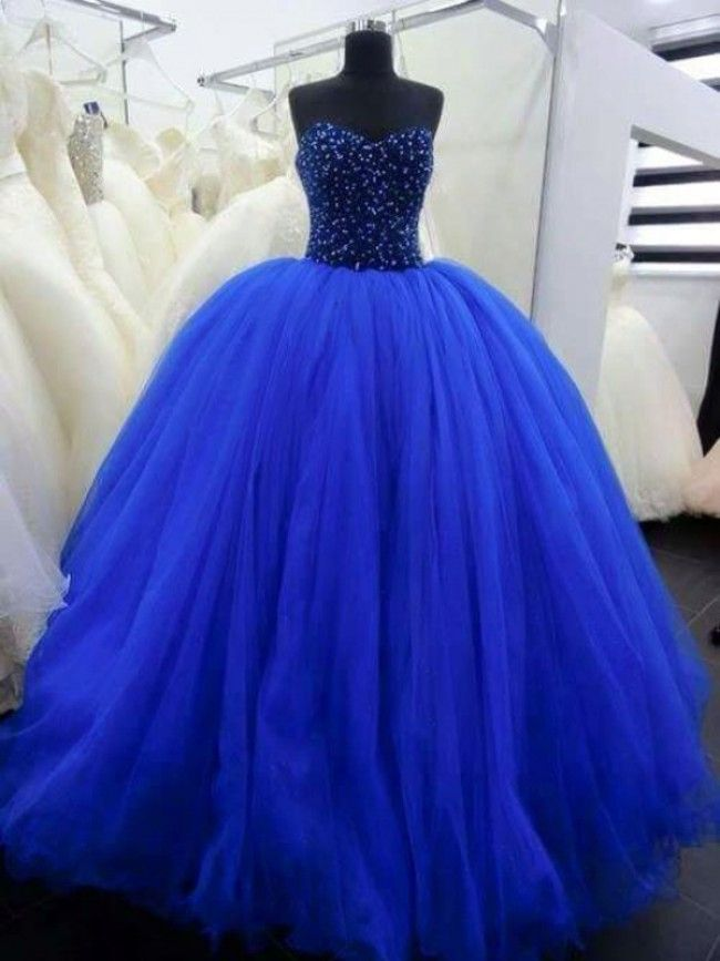 2016 Royal Blue Ball Gown Tulle Evening Dresses Sweetheart ...