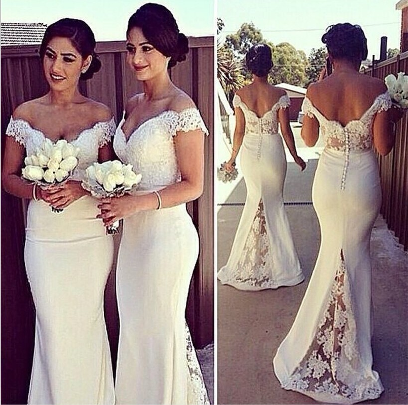 2016 Mermaid Sleeveless Bridesmaid Dress Lace Accents Floor Length Women Dresses Gowns Vestidos Casual Prom Party