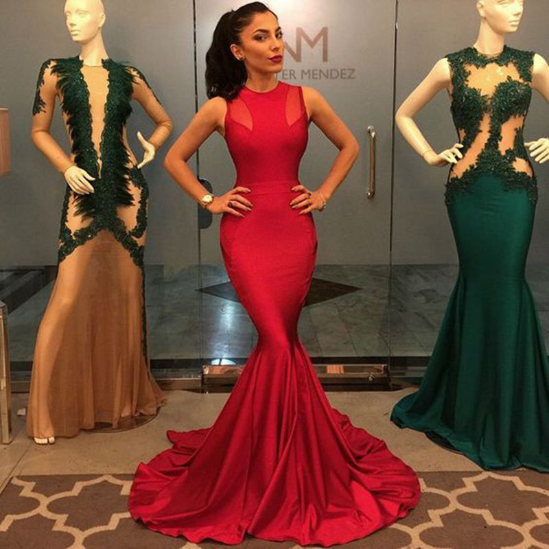 7c9b4be599 Long Red Mermaid Prom Dress 2016 Sexy O-neck Sleeveless Stretch Satin Floor  Length Prom Dresses