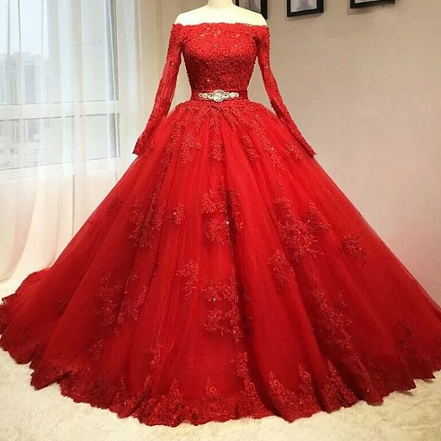 2016 Red Ball Gown Tulle Long Sleeve Beaded Lace Prom Dresses