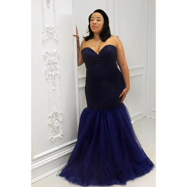 2016 Plus Size Tulle Sweetheart Mermaid Prom Dresses Evening Dress
