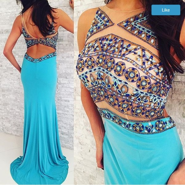 2016 Mermaid Royal Blue Beaded Crystals Prom Dress Evening Formal Dresses Party Dress
