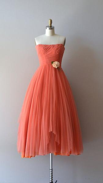 1950S Vintage Prom Party Gowns 2016 Orange Ruched Bodice Mini Short Homecoming Party Dress