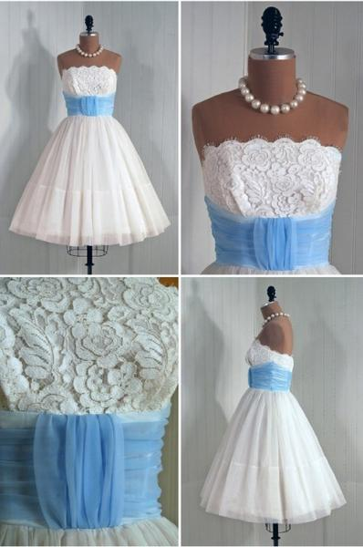 1950S Vintage Prom Party Gowns 2016 Strapless Lace Accents Mini Short Homecoming Party Dress