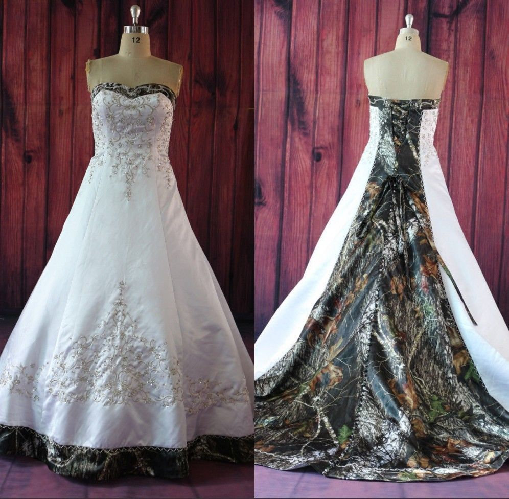 Hot! Custom Made Camo Ball Gown Wedding Dresses Embroidery Applique Bridal Gowns