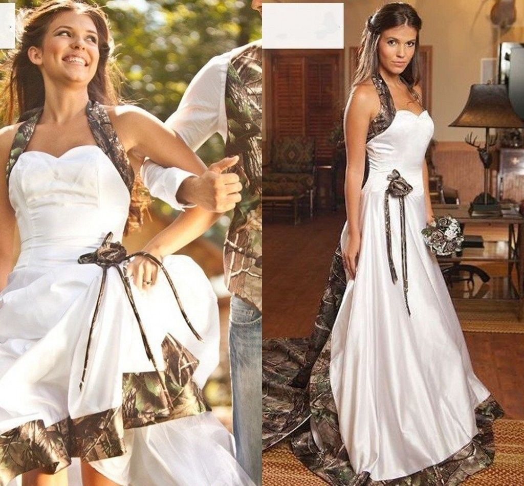 Hot Sale Camo Ball Gown Wedding Dresses Embroidery Beaded Appliques Bridal Gowns