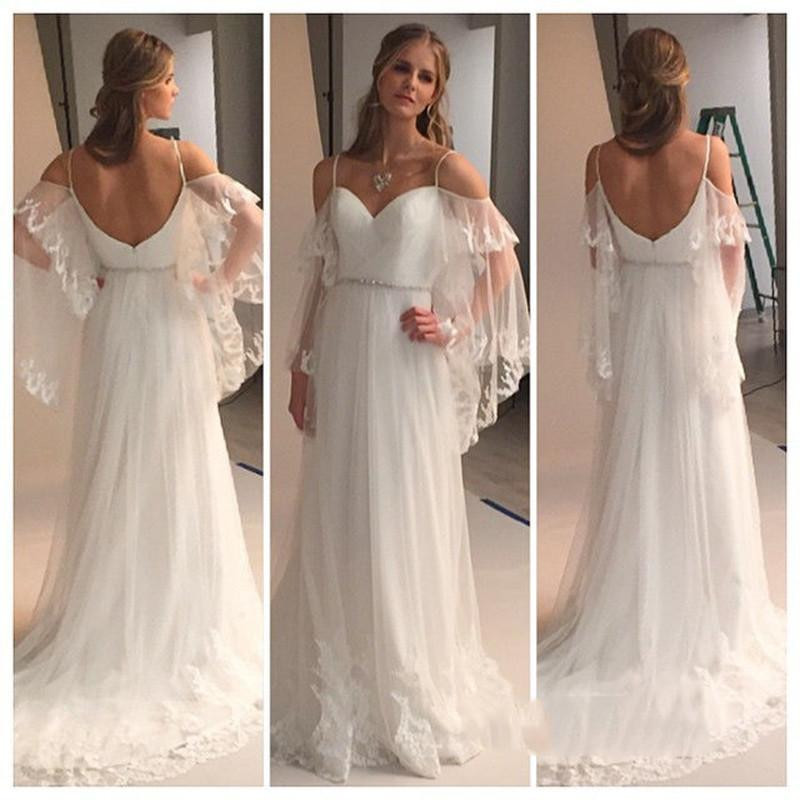 Romantic bohemian wedding dresses with batwing sleeve 2016 sexy romantic bohemian wedding dresses with batwing sleeve 2016 sexy spaghetti straps beach bridal dress backless vestido de novias junglespirit Image collections