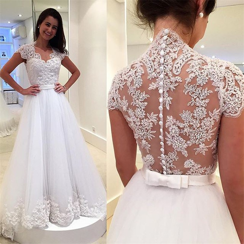 Vintage Bridal Lace Wedding Dresses Bride With Short Sleeves Tulle Vestidos De Noiva Robe Mariage Mariee Gowns