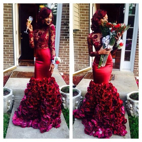 burgundy mermaid evening dresses lace black girl prom