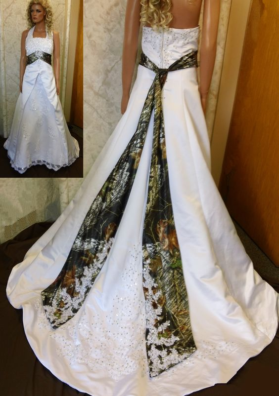 2020 A Line Camo Strapless Wedding Dresses Camouflage Appliques Wedding Gowns Lace Up