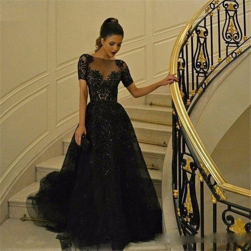 0aca6946337 Robe Longue Femme Soiree 2017 Elegant Black Maternity Evening Dresses Short Sleeves  Prom Gowns