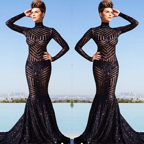 Black Mermaid Sequins Lace Evening Dresses High Neck Prom Dress Long Sleeve Party Gowns Vestidos