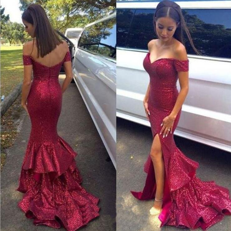 ed10cd2c Sexy Off Shoulder Sparkle Red Sequined Mermaid Prom Dresses, Long Red  Evening Dresses, Long