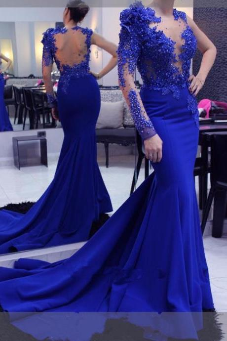 Mermaid Long Evening Dress Royal Blue Elegant Formal Party Dress Evening Gowns Robe De Soiree