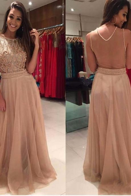 Gorgeous Evening Dresses with Scoop Neckline Pearls Beaded Floor Length Sleeveless Party Gowns