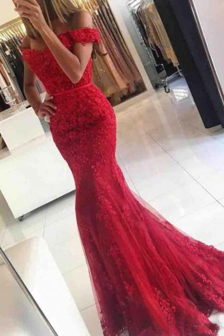 Red Elegant Evening Dresses with Sweetheart Neckline Off-the-shoulder Applique Beaded Floor Length Party Gowns
