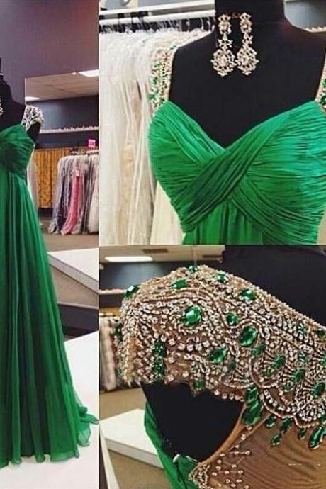 Luxury Long Evening Dress Beaded Robe De Soiree Green Vestido De Festa Vestido Prom Party Dresses