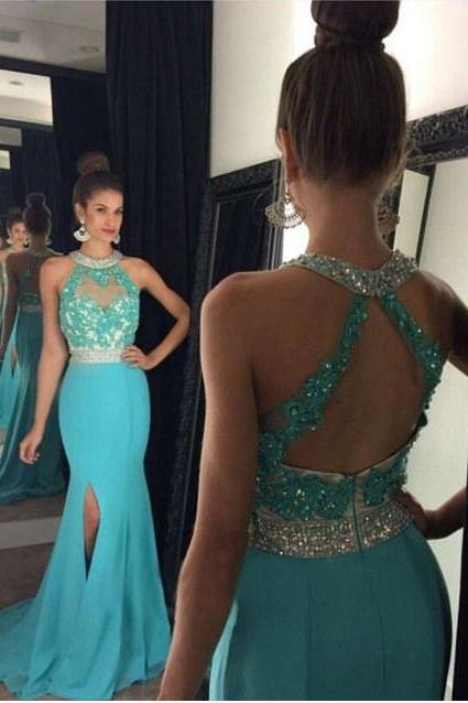 Vestido De Fiesta High split Evening dresses Sexy Mermaid Beading Crystals Prom Gowns Side Slit
