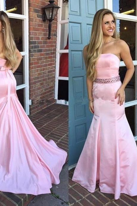 Mermaid Evening Dresses Boat-Neck Sleeveless Backless Sweep Train Satin with Sahes Pink Long Formal Gowns