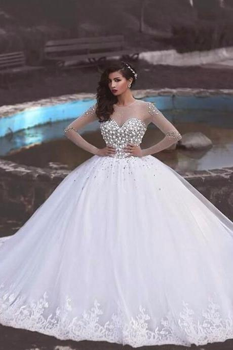 Vestido De Noiva Fashion Crystal Beading Lace Ball Gown Wedding Dress Vintage Appliques Long Sleeves Muslim Wedding Gowns