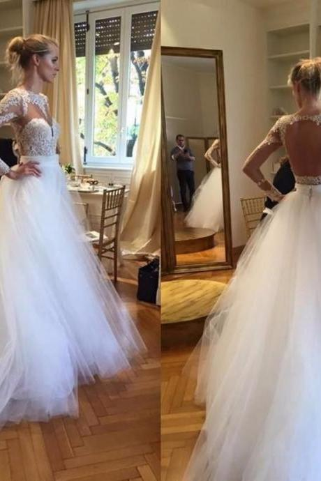 Sheer O Neck Long Lace Sleeves Wedding Dress Backless with Detachable Tulle Skirt Bride Gowns 2017 Vestido De Noiva