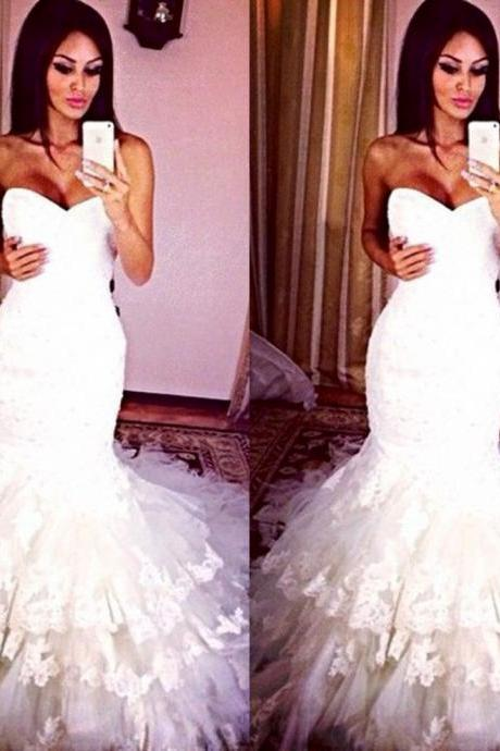 Breathtaking White Wedding Dresses vestido de novia Sweetheart Fully Lined Lace Tiered Bridal Gowns With Tulle Chapel Train