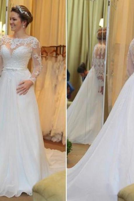 Fashionable White Lace Wedding Dresses Illusion Boat Neck Long Sleeves A-line Court Train Bridal Gowns Plus Size