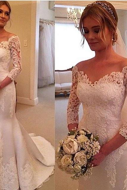 Irresistible Mermaid Wedding Dresses V Neck Three Quarters Sleeves Slim Satin Court Train Lace Bridal Gowns Custom