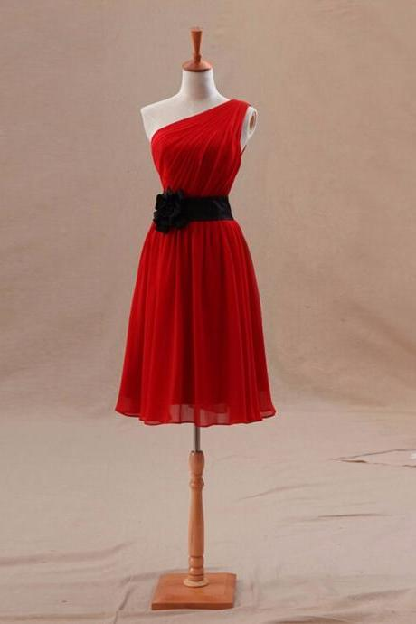 Red Chiffon Short Bridesmaid Dresses 2020 One Shoulder Sleeveless robe demoiselle d'honneur vestidos de madrinha Real Pictures