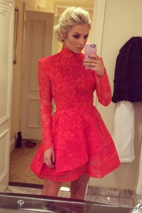 Red A-line High Collar Long Sleeves Lace Short Mini Sexy Special Occasion Cocktail Dresses Homecoming Dresses