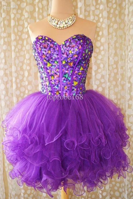 Purple 2017 Homecoming Dresses A-line Sweetheart Organza Crystals Sequins Sparkle Short Mini Cocktail Dresses