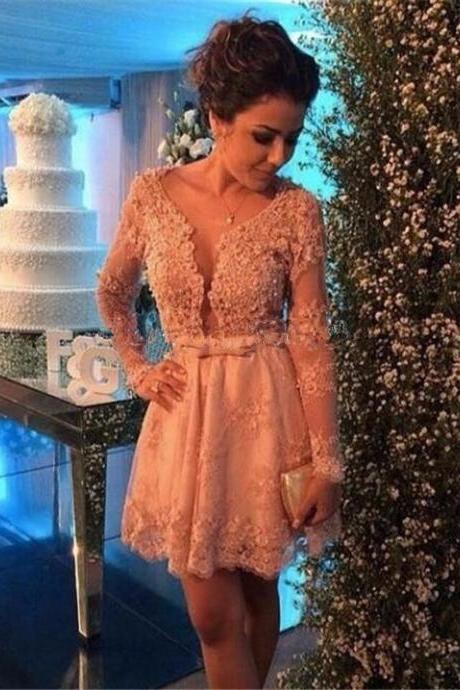 Champagne Scoop Long Sleeve Lace Mini Length Illusion Homecoming Dress Vestido De Festa Curto