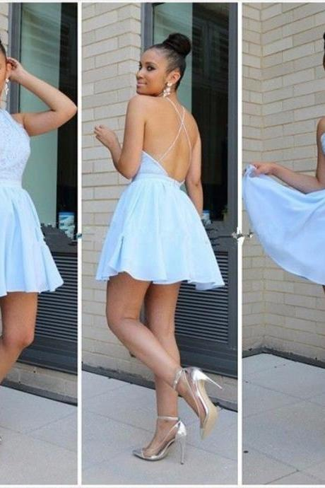 Aqua Blue Halter Neckline Chiffon Mini Length Open Back Homecoming Dress With Lace Bodice