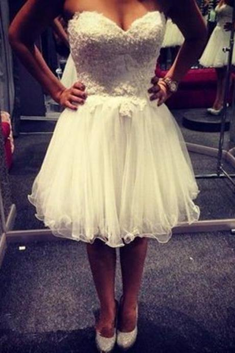 Sweetheart Strapless White Organza Homecoming Dress With Beaded Lace Applique 2020 New Vestido De Festa Curto