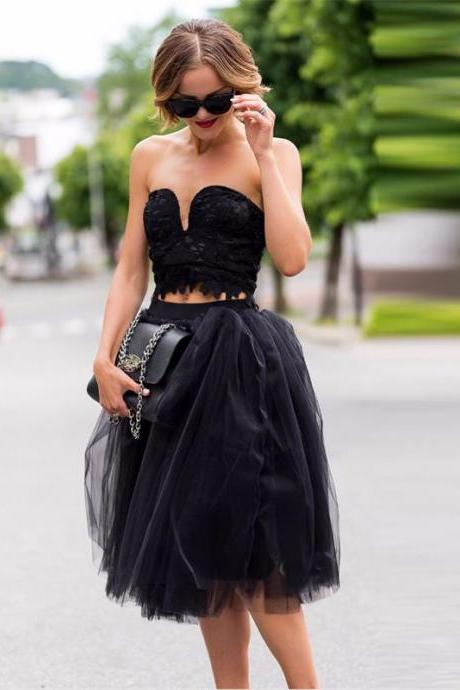 Two Piece Black Sweetheart Strapless Tea Length Tulle Homecoming Dress With Lace Bodice 2020 New Vestidos Curto