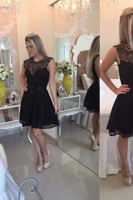 Classic Black Short Mini Length Lace Homecoming Dress With Cap Sleeve 2020 Vestido De Festa Curto