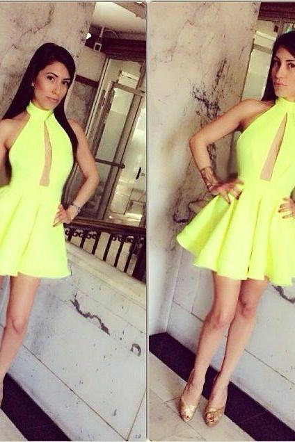 Vestidos De Fiesta Cortos Fluorescence Green Short Homecoming Dresses A-line Mini Dress For Prom 8th Grade Graduation Dresses