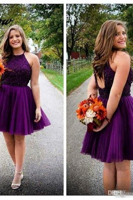 Sexy Short Dark Purple Homecoming Dresses Plus Size Tulle Pleat Beaded 8th Grade Graduation Dresses Short Party Gown