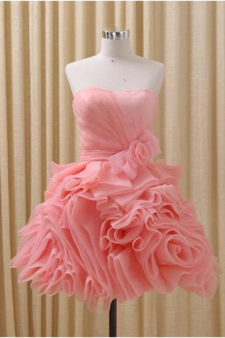Cocktail Party Fashion Design Strapless Ruffles Organza Burgundy Coral Red Short Homecoming Dresses Party Gowns