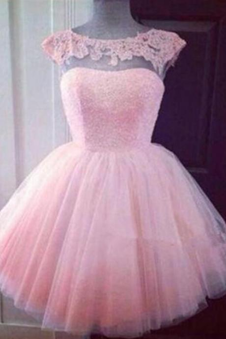 Pink 2020 Homecoming Dresses A-line Sweetheart Cap Sleeves Tulle Lace Short Mini Cocktail Dresses