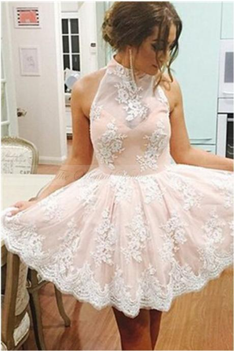 White Lace Halter Short Graduation Dress Blush Pink Junior Homecoming Dresses 2020 Appliques Mini Semi Formal Prom Dresses