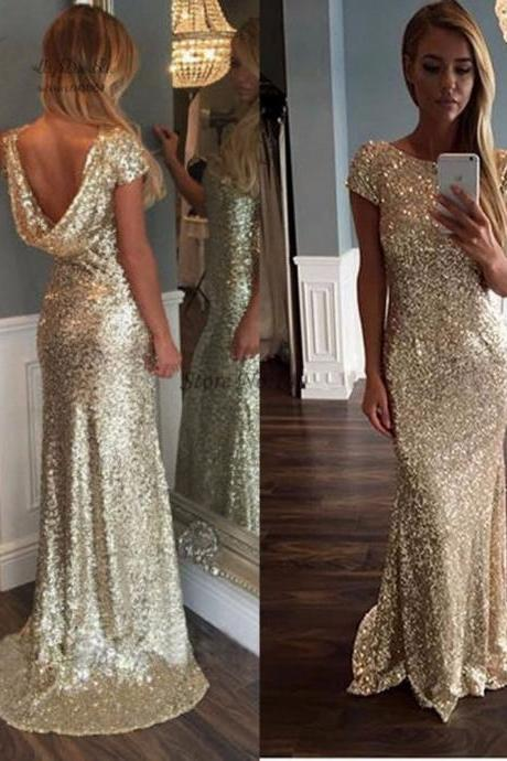 New Fashion Prom Dresses Cap Sleeve Crystal Beaded Black Evening Dresses long 2017 Backless Formal Evening Gowns