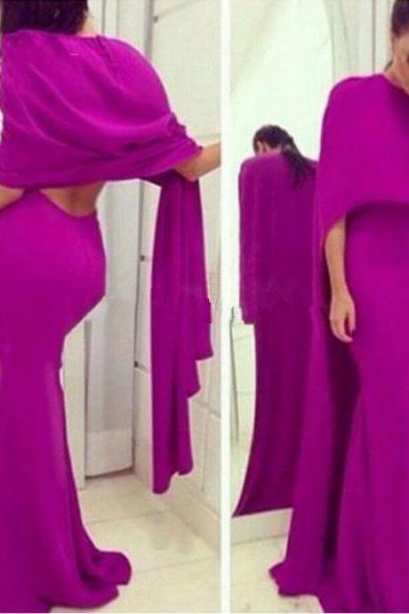 Fuschia Best Selling Sexy Backless Mermaid Evening Dresses With Cape Prom Dresses Long Evening Gowns Floor-Length Robe De Soiree