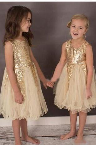 Custom Made Gold Flower Girl Dresses for Bohemia Wedding Knee Length Tulle Sleeveless Child Formal Party Dresses for Girls Pageant