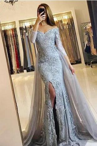 Gorgeous Mermaid Evening Dresses Long Off The Shoulder Prom Dress Front Split Lace Appliques 3/4 Long Sleeves Formal Dresses Evening Wear