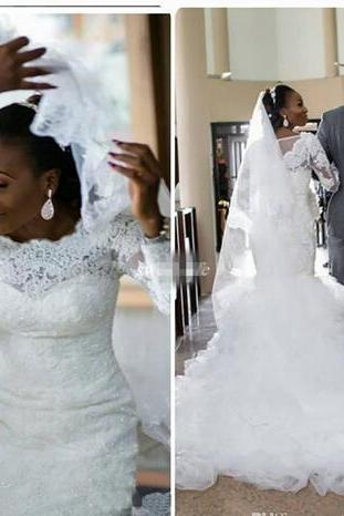 African Vintage Mermaid Lace Wedding Dresses Plus Size Long Sleeve Appliques Sequined Ruffle Trains Nigerian Bridal Wedding Gowns Cheap