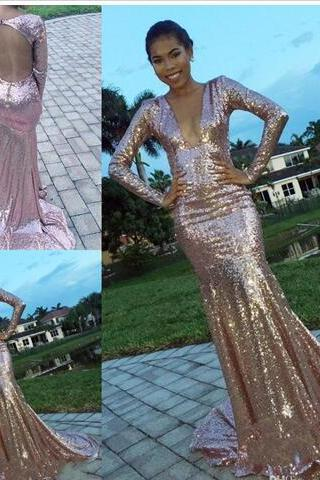 Newest Deep V-neck Long Sleeve Long Evening Dresses Sequin Lace Backless Mermaid Formal Evening Gowns Prom Dresses Vestido De Noche